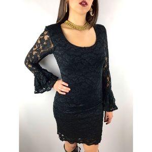 Vintage LEW MAGRAM COLLECTION black lace dress